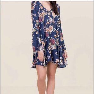 Blue Rain cotton blend dress Navy floral